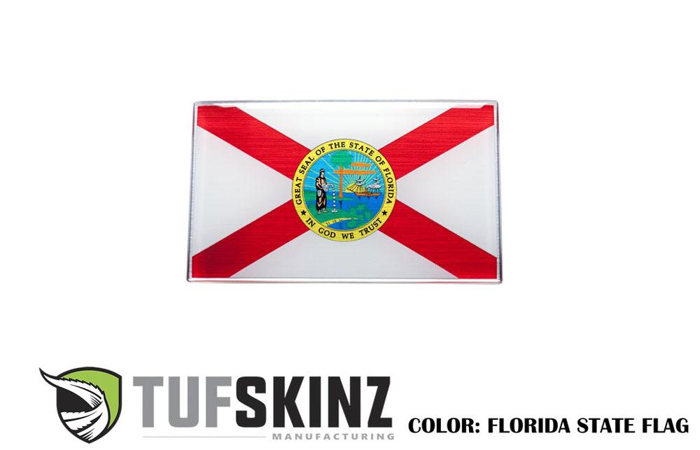 Tufskinz USA001-GTO-016-G State Of Florida Flag Vehicle Emblem Metallac 3.75 X 2.25 Inch