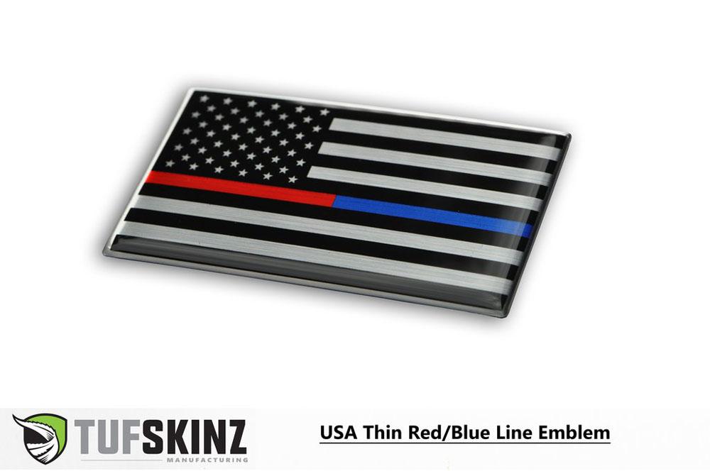 Tufskinz USA001-GTO-023-G USA Thin Red/Blue Line Flag Vehicle Emblem Metallac 3.75 X 2.25 Inch