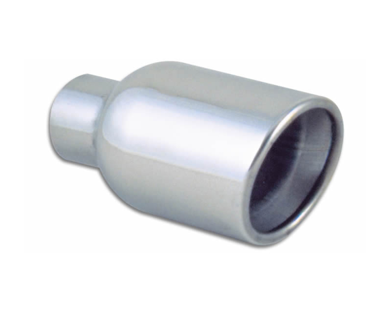 """Vibrant Performance Polished 4"""" Round Rolled Double Walled Angle Cut Stainless Steel Exhaust Tip - 2.25"""" Inlet - 1303"""