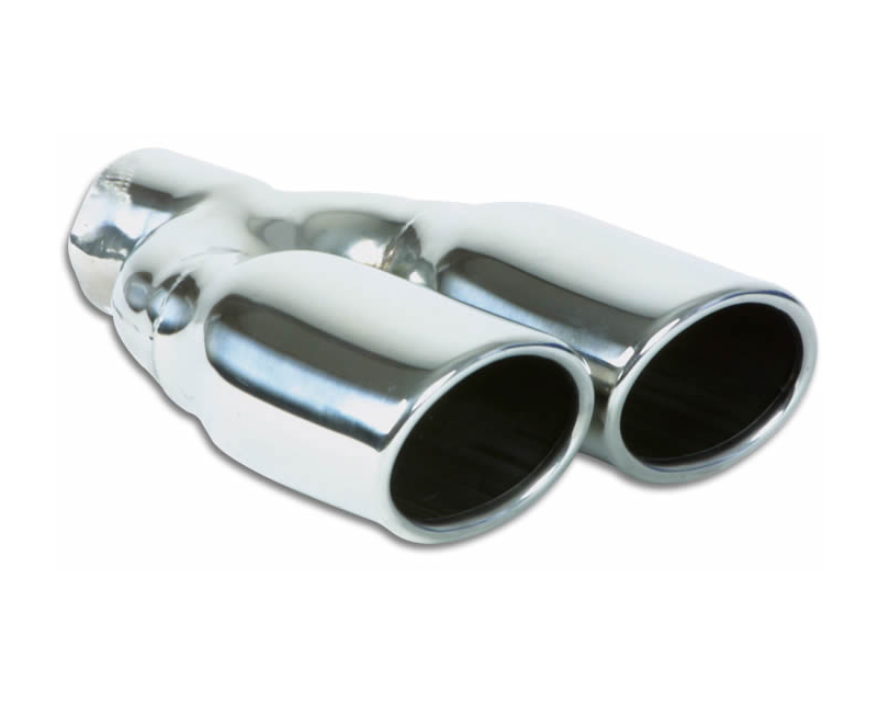 """Vibrant Performance Polished 3.25"""" x 2.75"""" Dual Oval Rolled Single Walled Angle Cut Stainless Steel Exhaust Tips - 2.25"""" Inlet - 1335"""