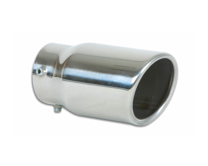 """Vibrant Performance Polished 3"""" Round Rolled Single Walled Angle Cut Stainless Steel Bolt-On Exhaust Tip - 2.25"""" Inlet - 1503"""