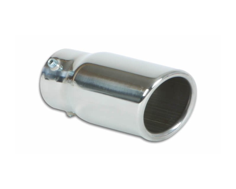 """Vibrant Performance Polished 2.5"""" Round Rolled Single Walled Angle Cut Stainless Steel Bolt-On Exhaust Tip - 2"""" Inlet - 1505"""