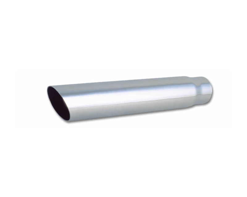 """Vibrant Performance Polished 3"""" Round Single Walled Angle Cut Stainless Steel Bolt-On Exhaust Tip - 2.5"""" Inlet - 1551"""