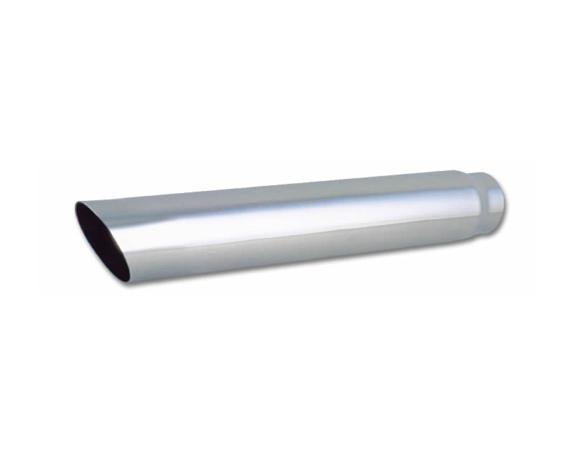 """Vibrant Performance Polished 4"""" Round Single Walled Angle Cut Stainless Steel Bolt-On Exhaust Tip - 2.5"""" Inlet - 1555"""