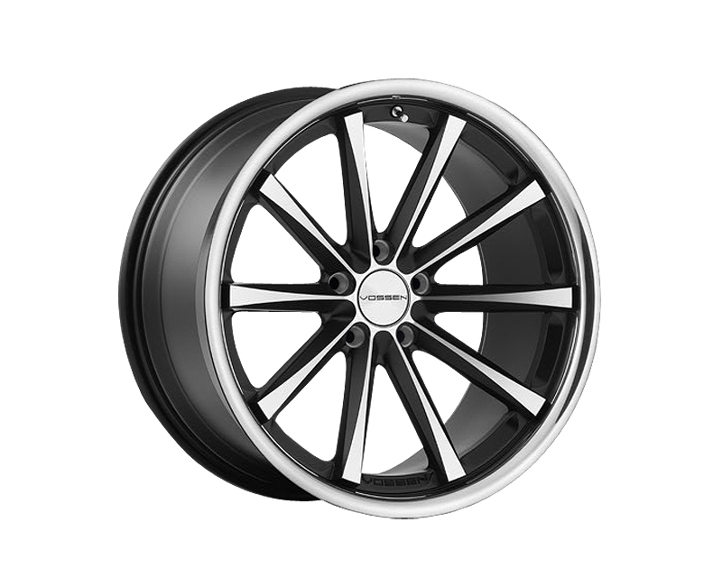 Image of Vossen CV1 Matte Black with Machined Face and Stainless Lip Monoblock Wheel 19x10 5x112 36mm