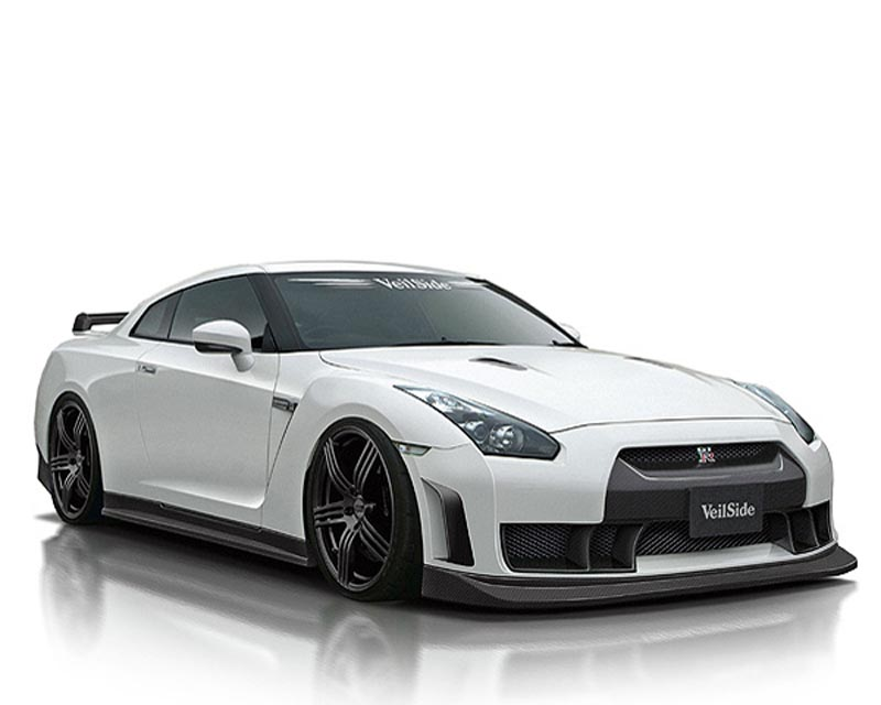 VeilSide 2009-2011 Nissan Skyline GTR R35 Ver. I Model Front Lip Spoiler (FRP) 1 Small Emblem - NOTE: Can be use for 2012-2020 Vehicle with using VeilSide Front Bumper. - AE102-02