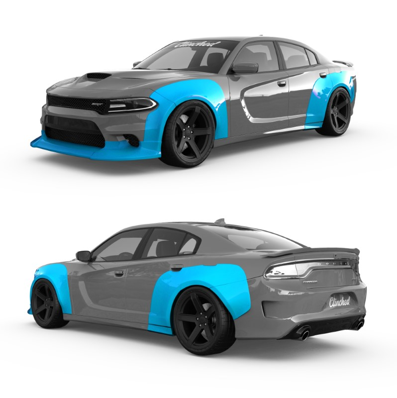 Clinched Flares Widebody Kit Dodge Charger SXT   GT   R/T   Scat Pack   SRT   Hellcat 2015+ - WB-CHAR