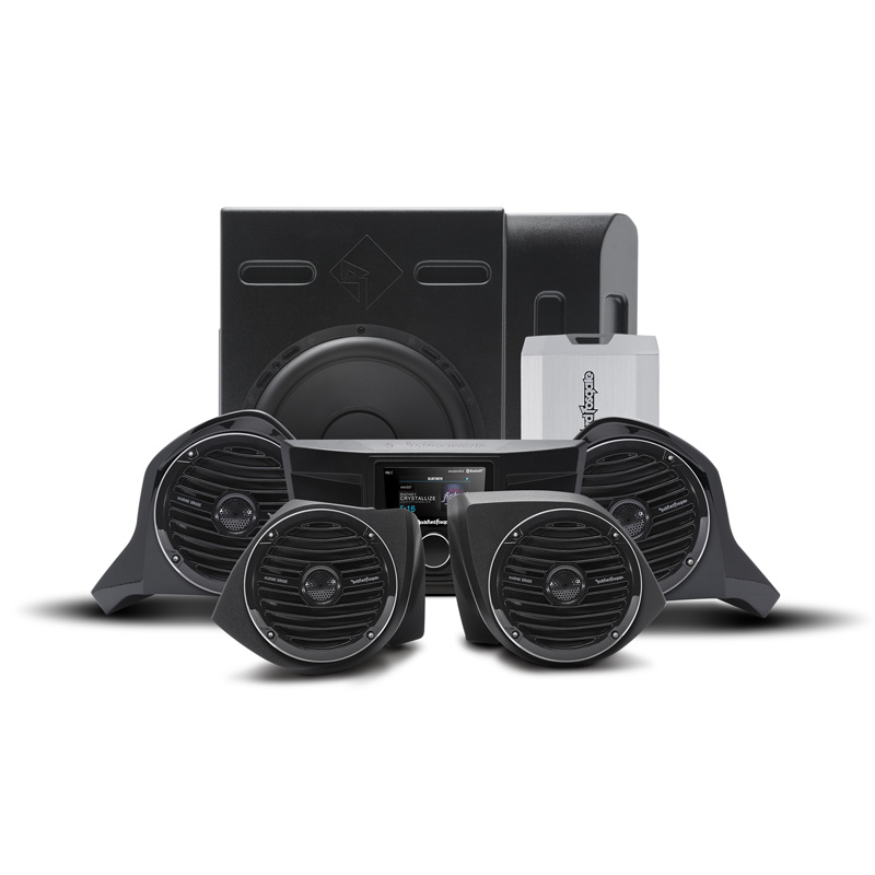 Rockford Fosgate Stage 5 400 Watt Amplified Stereo | Front Upper & Lower Speaker | Subwoofer Kit Yamaha YXZ Models - YXZ-STAGE5