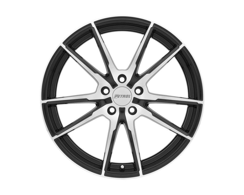 Petrol P0A Gloss Black w/ Machined Cut Face Wheel 18x8 5x112 40mm CB72.1 - 1880P0A405112B72