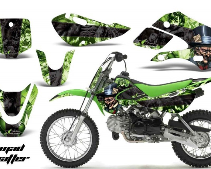 Mad Hatter Green Black AMR Racing MX Dirt Bike Graphics kit Sticker Decal and Number Plates Compatible with Kawasaki KXF450 2009-2011