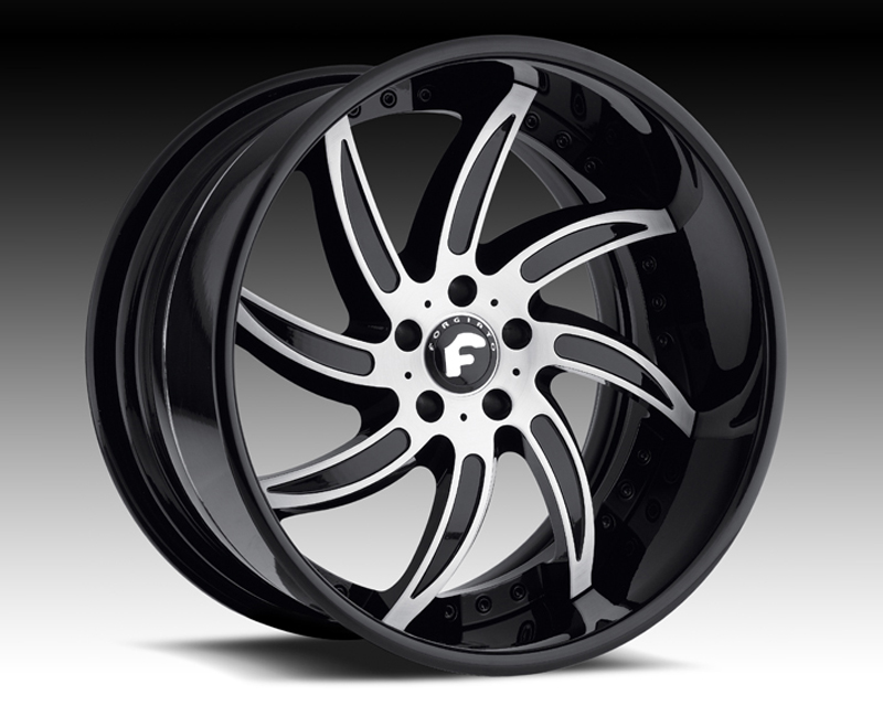 Forgiato Azioni 19X10.5 5x114.3 Black with Silver Facing - FRG-AZI-1915-5114