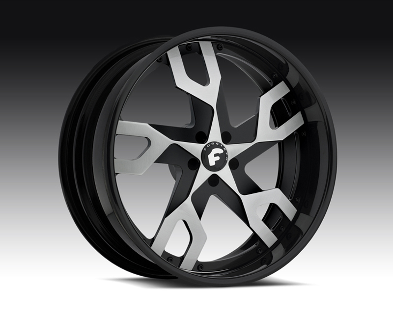 Forgiato Basamento 21x9.5 5x114.3.3 Black with Silver Facing - FRG-BAS-2195-5114