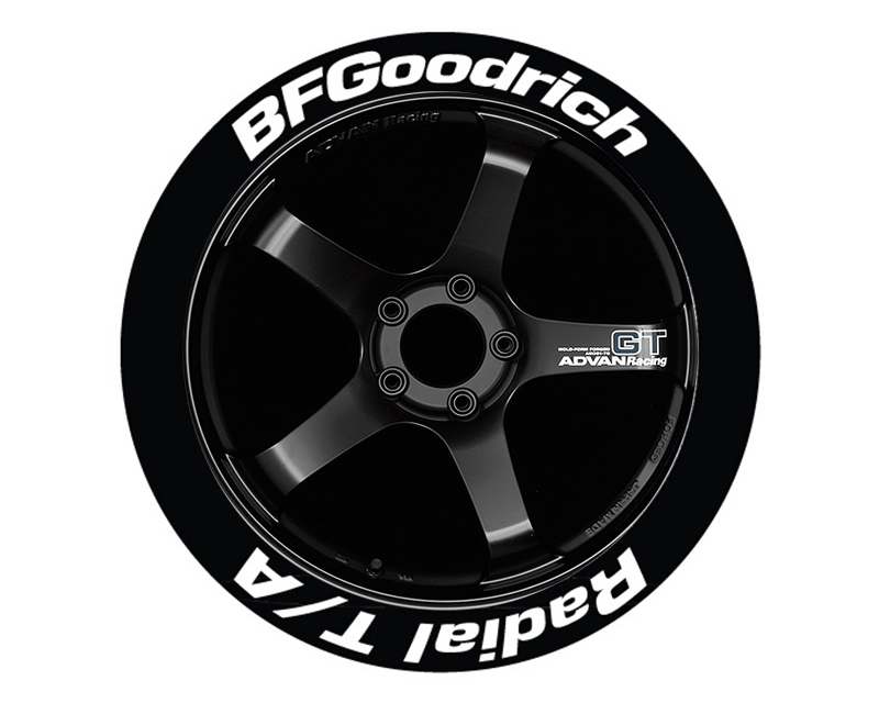 Tire Stickers Permanent Raised Rubber Lettering 'Bf Goodrich Radial T/A - TS-BFG-TA-RR