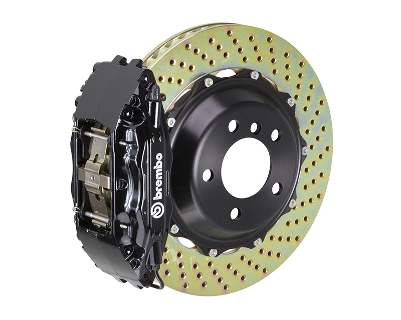 Brembo GT 332x32 2-Piece 4 Piston Black Drilled Front Big Brake Kit Chrysler Crossfire 04-07