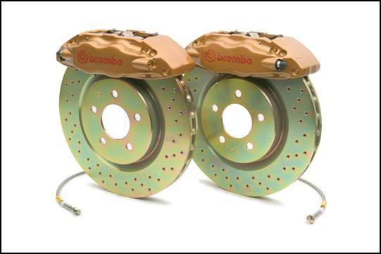 Brembo GT 12.8 Inch 4 Piston 1pc Gold Caliper Front Drilled Big Brake Kit Subaru Legacy 2.5i 10-14