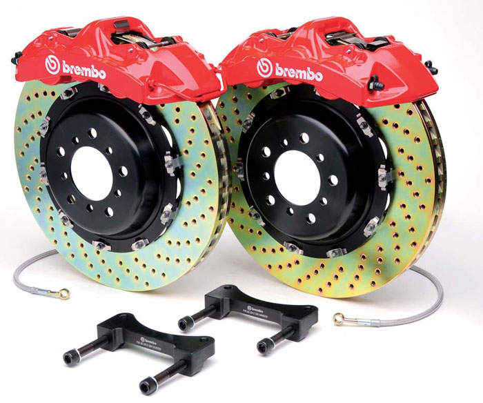 Brembo GT 14.4 Inch 4 Piston Monoblock Front 2pc Drilled Big Brake Kit Audi A4 06-08