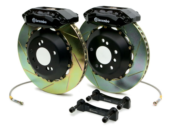 Brembo GT 15 Inch 4 Piston 2pc Slotted Rear Big Brake Kit Audi S4 09-11