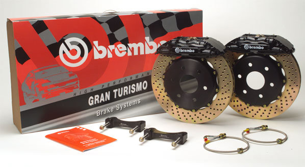 Brembo GT 12.9 Inch 4 Piston 2pc Front Drilled Big Brake Kit Acura Integra Type R 97-01