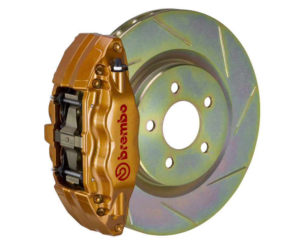 Brembo GT 326x30 1-Piece 4 Piston Gold Slotted Front Big Brake Kit - 1E5.6002A4