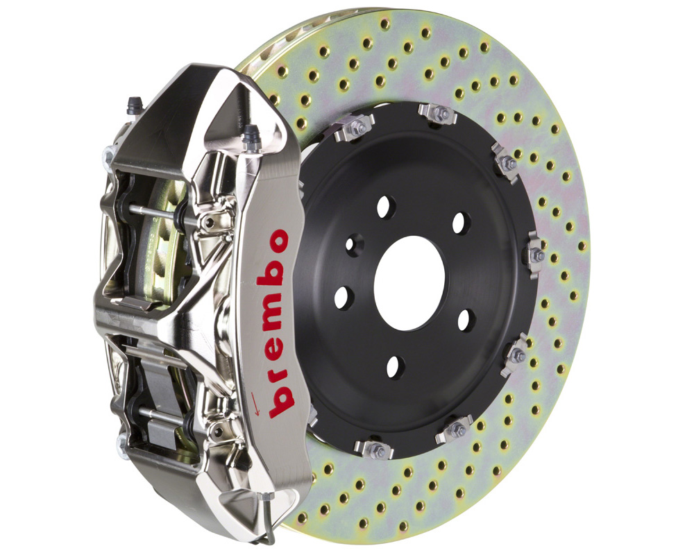 Brembo GT-R 365x34 2-Piece 6 Piston Nickel Plated Drilled Front Big Brake Kit - 1N1.8505AR