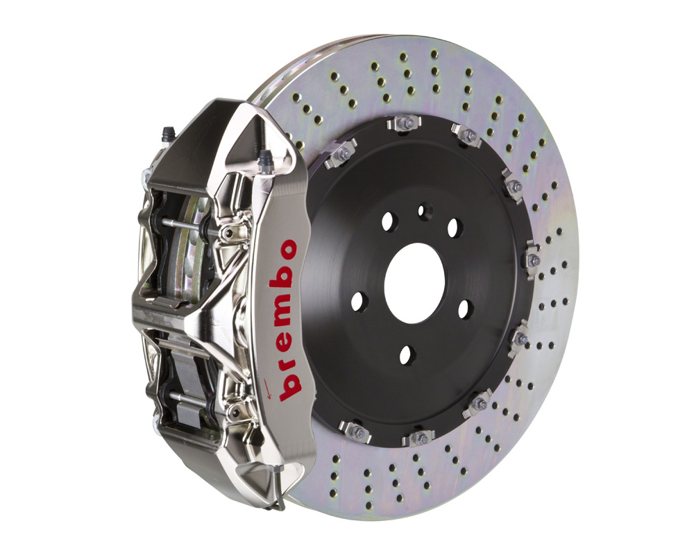 Brembo GT-R 405x34 2-Piece 6 Piston Nickel Plated Drilled Front Big Brake Kit - 1N1.9519AR