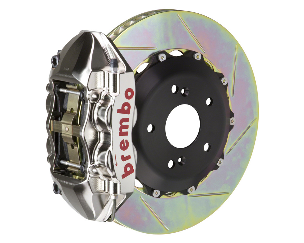 Brembo GT-R 328x28 2-Piece 4 Piston Nickel Plated Slotted Front Big Brake Kit - 1P2.6001AR