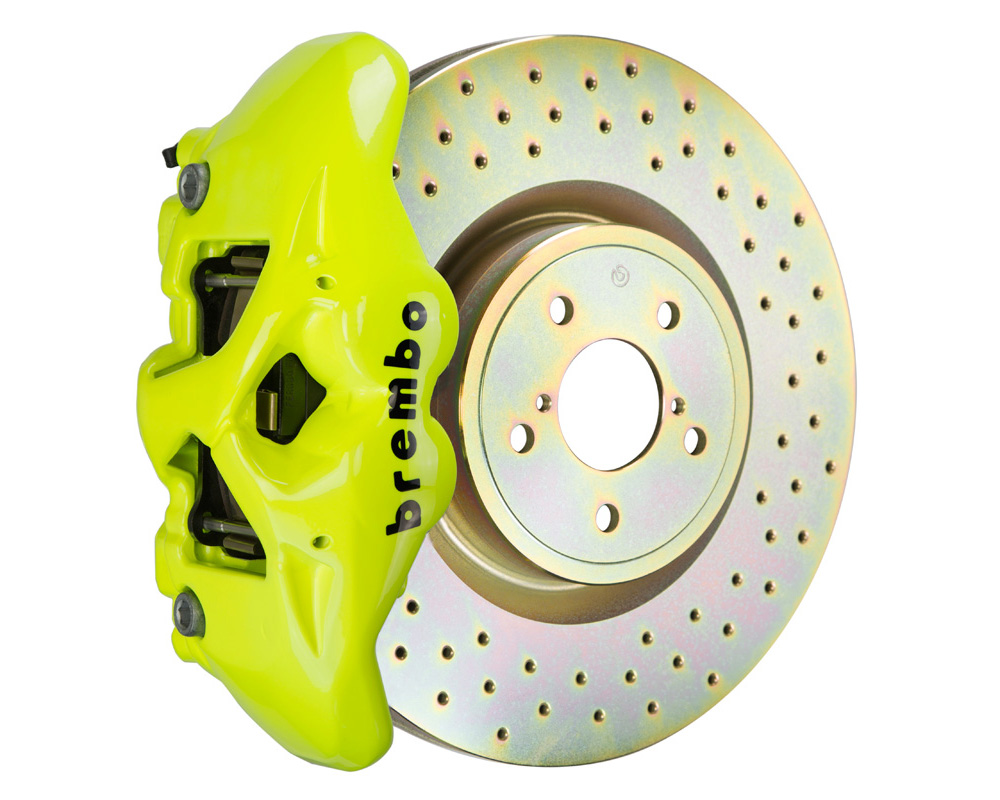 Brembo GT 326x30 1-Piece 4 Piston Fluo. Yellow Drilled Front Big Brake Kit - 1S4.6002A7