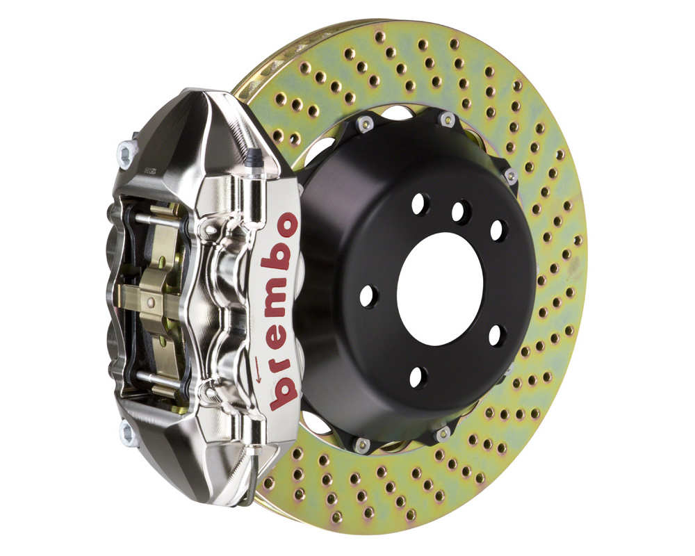 Brembo GT-R 345x28 2-Piece 4 Piston Nickel Plated Drilled Rear Big Brake Kit - 2P1.8002AR