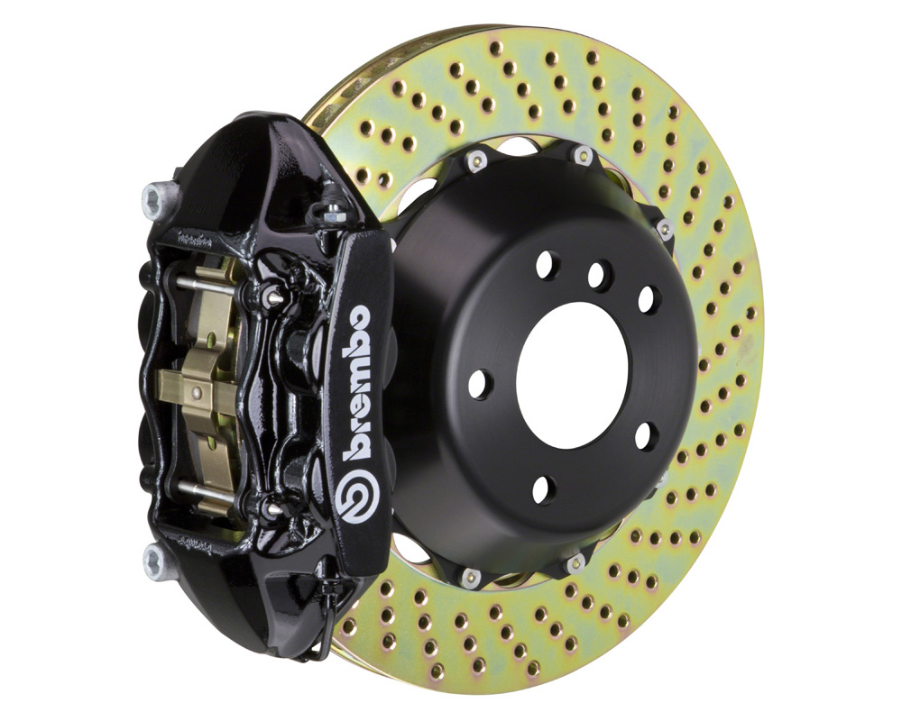 Brembo GT 345x28 2-Piece 4 Piston Black Drilled Rear Big Brake Kit - 2P1.8021A1