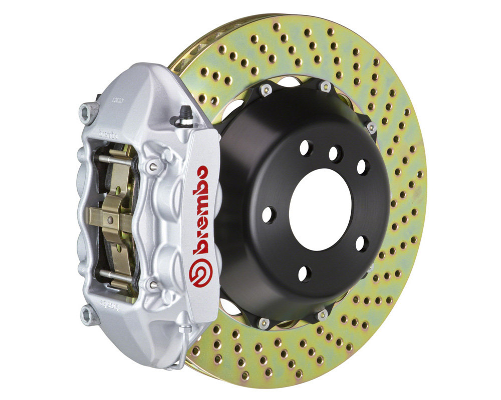 Brembo GT 345x28 2-Piece 4 Piston Silver Drilled Rear Big Brake Kit - 2P1.8028A3