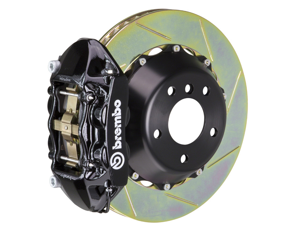 Brembo GT 345x28 2-Piece 4 Piston Black Slotted Rear Big Brake Kit - 2P2.8021A1