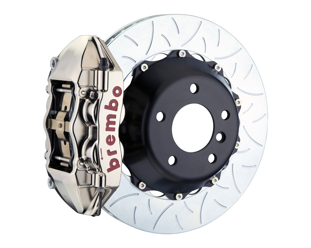 Brembo GT-R 345x28 2-Piece 4 Piston Nickel Plated Slotted Type-3 Rear Big Brake Kit - 2P3.8037AR