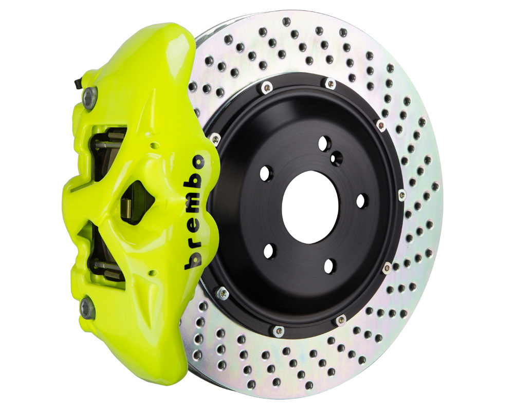 Brembo GT 380x28 2-Piece 4 Piston Fluo. Yellow Drilled Rear Big Brake Kit - 2S1.9004A7