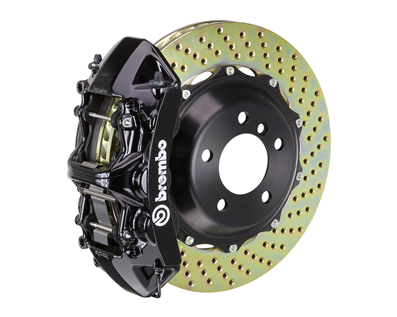 Brembo GT 355x32 2-Piece 6 Piston Black Drilled Front Big Brake Kit Audi S6 02-03