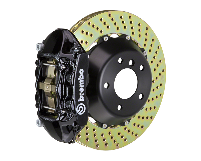 Brembo GT 345x28 2-Piece 4 Piston Black Drilled Rear Big Brake Kit Mitsubishi EVO X 08-15