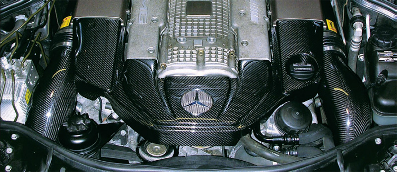 Carbonio Carbon Fiber Engine Cover Mercedes-Benz AMG 55 Supercharged 03-06 - MBZ-AMG55-EC