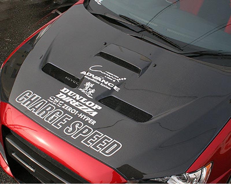 ChargeSpeed Carbon Vented Engine Hood Mitsubishi EVO X 09-10 - CS427HCV
