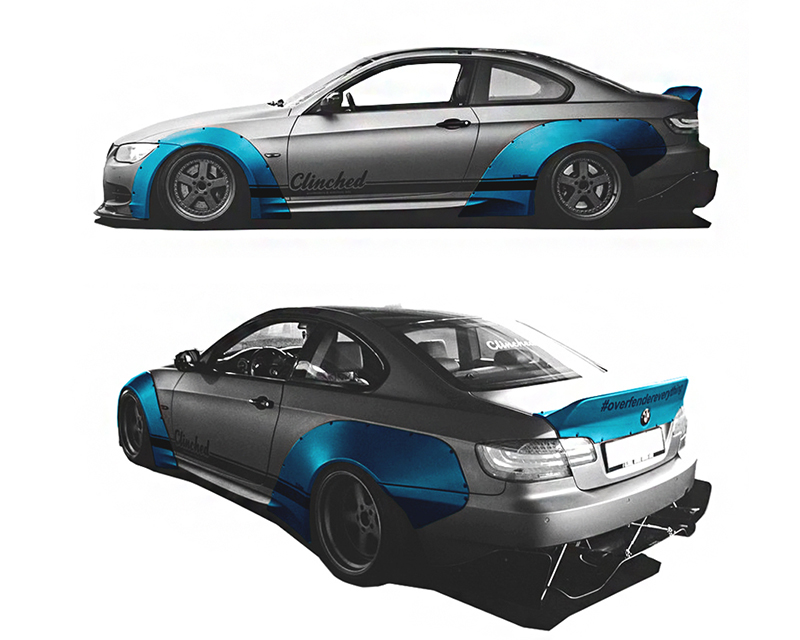Clinched Flares Widebody Kit With Ducktail Spoiler BMW 3-Series | M3 E92 05-13 - BMW-E92
