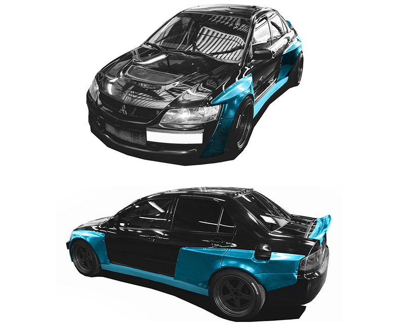 Clinched Flares Widebody Kit with Ducktail Spoiler Mitsubishi Evolution VII - IX 01-07 - EVO-7