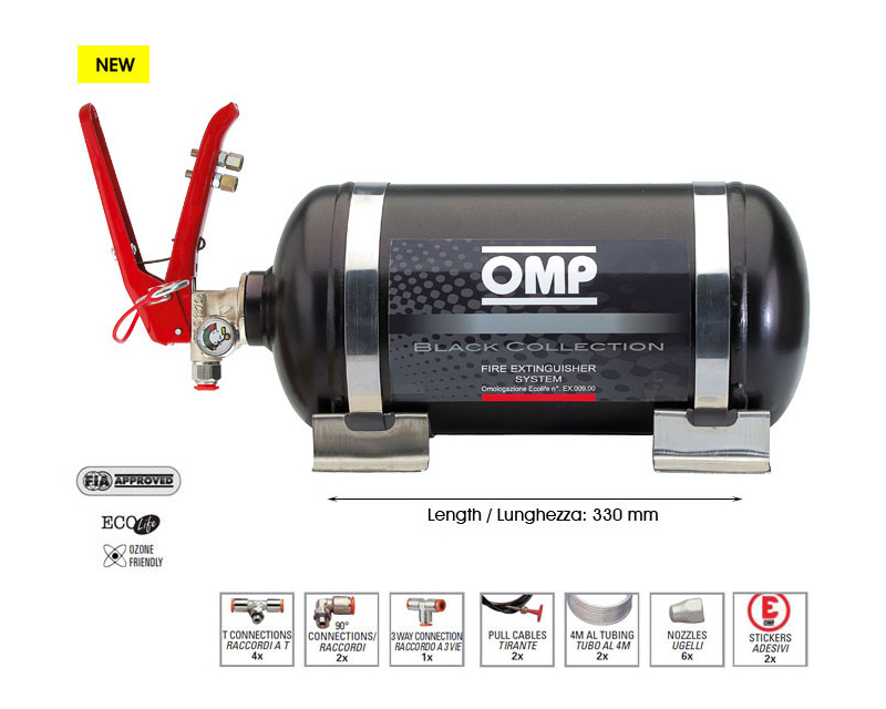 OMP Racing 18LB Black Collection Mechanical Fire Extinguisher System - CMSST1
