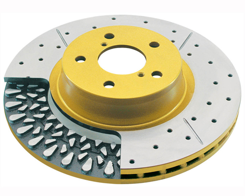 Image of DBA HD 4000XS Gold Drilled Slotted Front Rotor Scion FRS Coupe 13-14