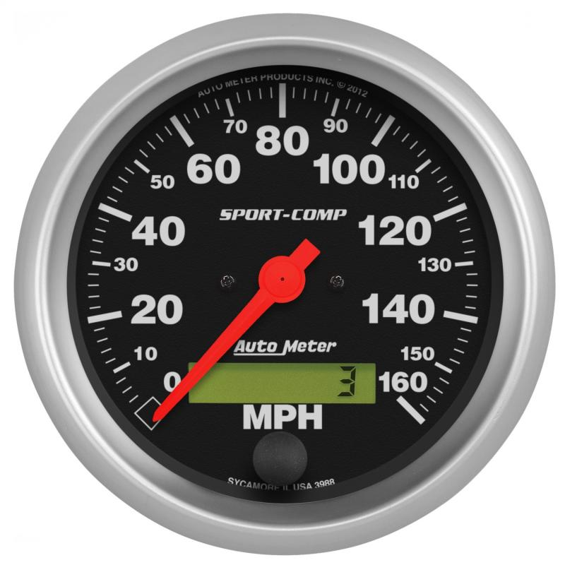 AutoMeter GAUGE; SPEEDO; 3 3/8in.; 160MPH; ELEC. PROGRAM W/LCD ODO; SPORT-COMP - 3988