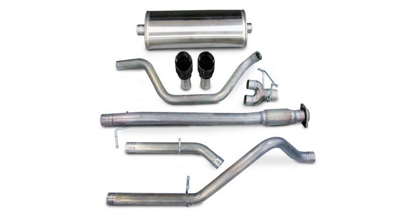 "Corsa Performance 3.0"" Catback Exhaust Dual Rear Exit with Single 4.0"" Black PVD Pro-Series Tips Chevrolet Silverado 1500   GMC Sierra 1500 2007-2008 - 14199BLK"