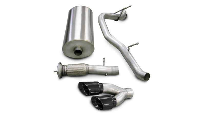 """CORSA Performance 3.0"""" Catback Exhaust Single Side Exit with Twin 4.0"""" Black PVD Pro-Series Tips Cadillac Escalade   GMC Yukon 2007-2010 - 14202BLK"""