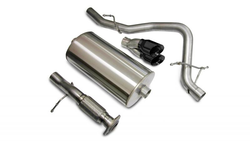 """Corsa Performance 3.0"""" Catback Exhaust Single Rear Exit with Twin 4.0"""" Black PVD Pro-Series Tips Chevrolet Tahoe   GMC Yukon 2007-2008 - 14207BLK"""