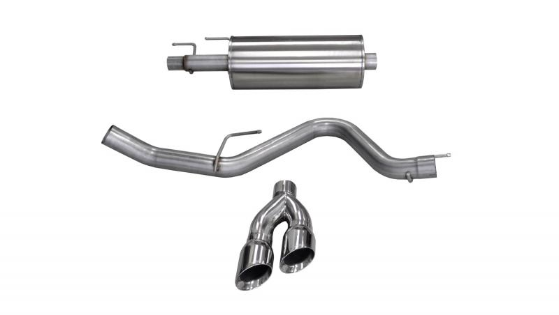 """CORSA Performance 3.0"""" Catback Exhaust Single Side Exit with Twin 4.0"""" Polished Pro-Series Tips Ford F-150 EcoBoost Super Cab   Super Crew2015-2018 - 14836"""