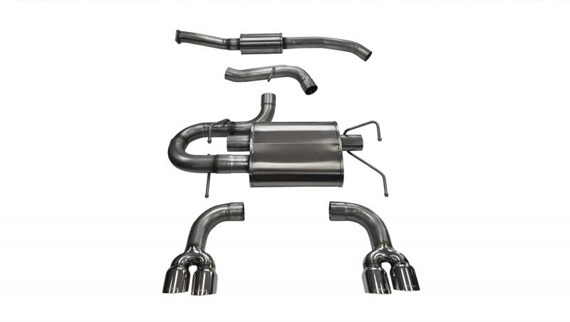 """CORSA Performance 3.0"""" Catback Exhaust Dual Rear Exit with Twin 3.5"""" Polished Pro-Series Tips Subaru WRX 