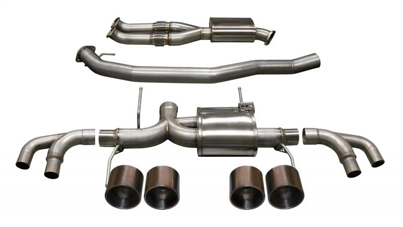 """Corsa Performance 3.5"""" Catback Exhaust Dual Rear Exit with Twin 5.0"""" Bronze PVD Straight Cut Tips Nissan GT-R R35 2009-2019 - 14999BRZ"""