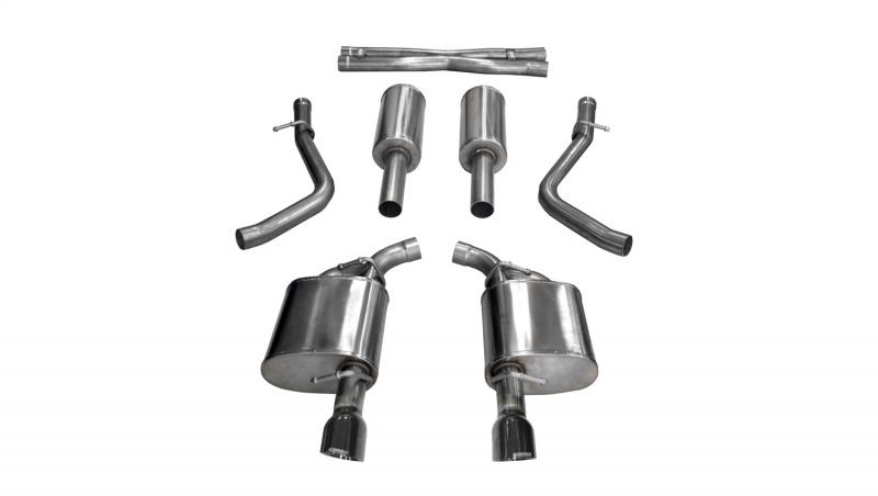 """Corsa Performance 2.75"""" Catback Exhaust Dual Rear Exit with Single 4.5"""" Black PVD Pro-Series Tips Chrysler 300 C 