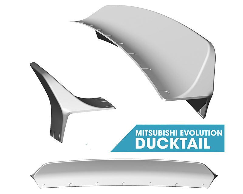 Clinched Flares Ducktail Spoiler Mitsubishi Evolution VII - IX 01-07 - duck-evo7